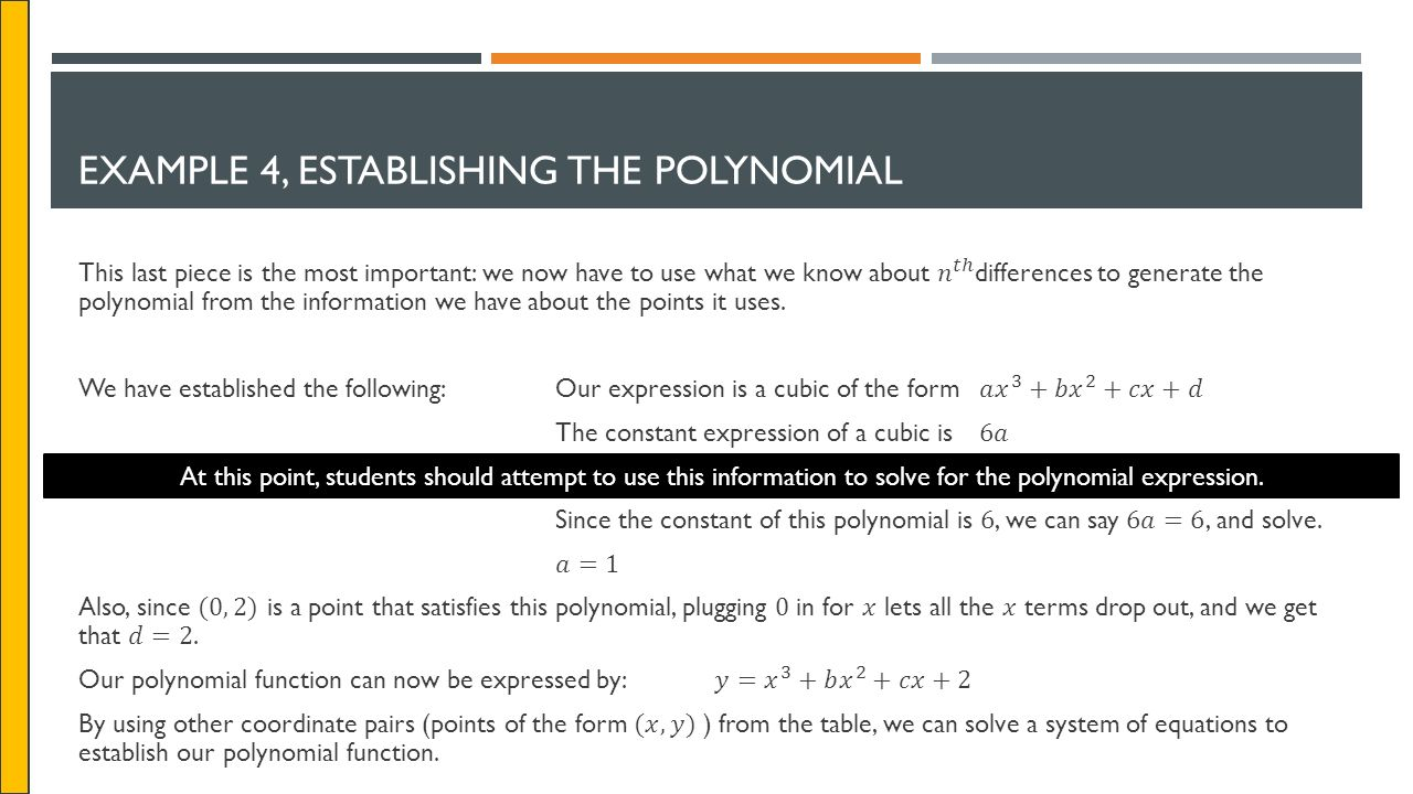 Example 4, Establishing The Polynomial