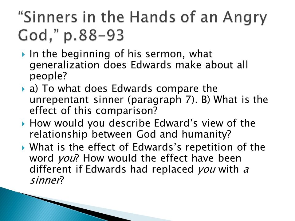 "On Teaching Edwards' ""Sinners In The Hands Of An Angry God"""