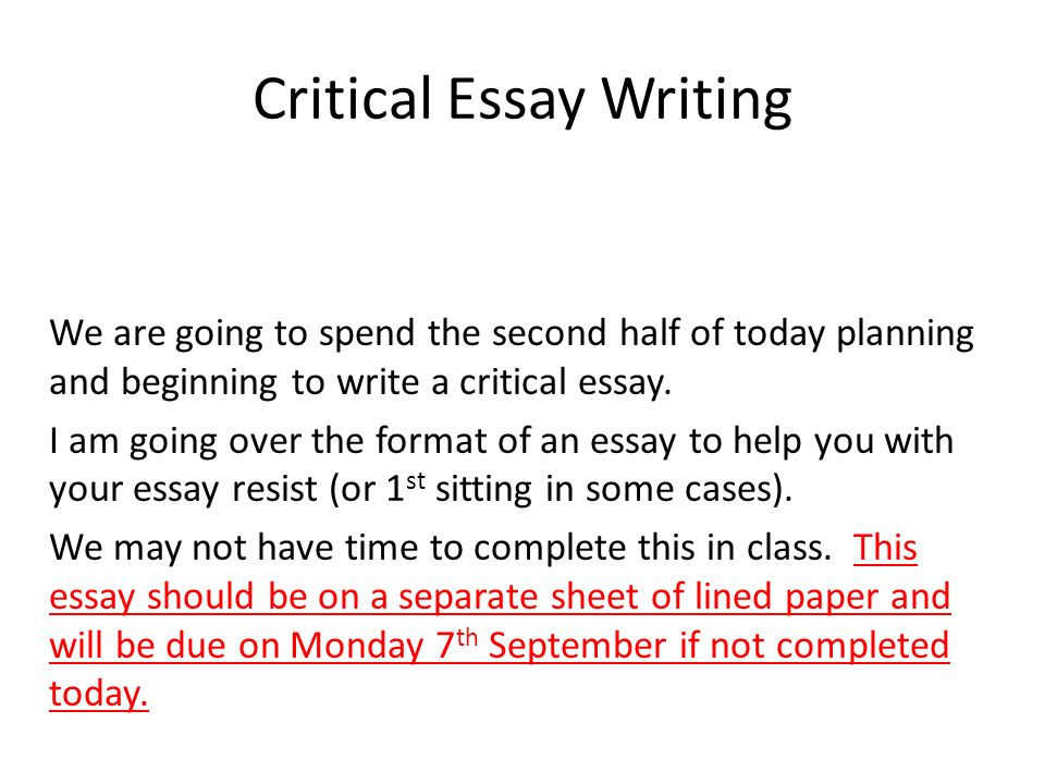 Critical essay writing