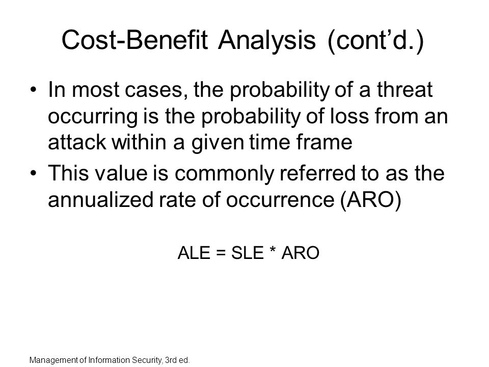 the annual rate of occurrence aro column (d) estimate the annualized rate of occurrence (aro) for each risk factor (e) determine the countermeasures required to overcome each risk factor (f) determine the annualized loss expectancy (ale) for each risk factor see the calculations for ale section below for details please note that the aro for.