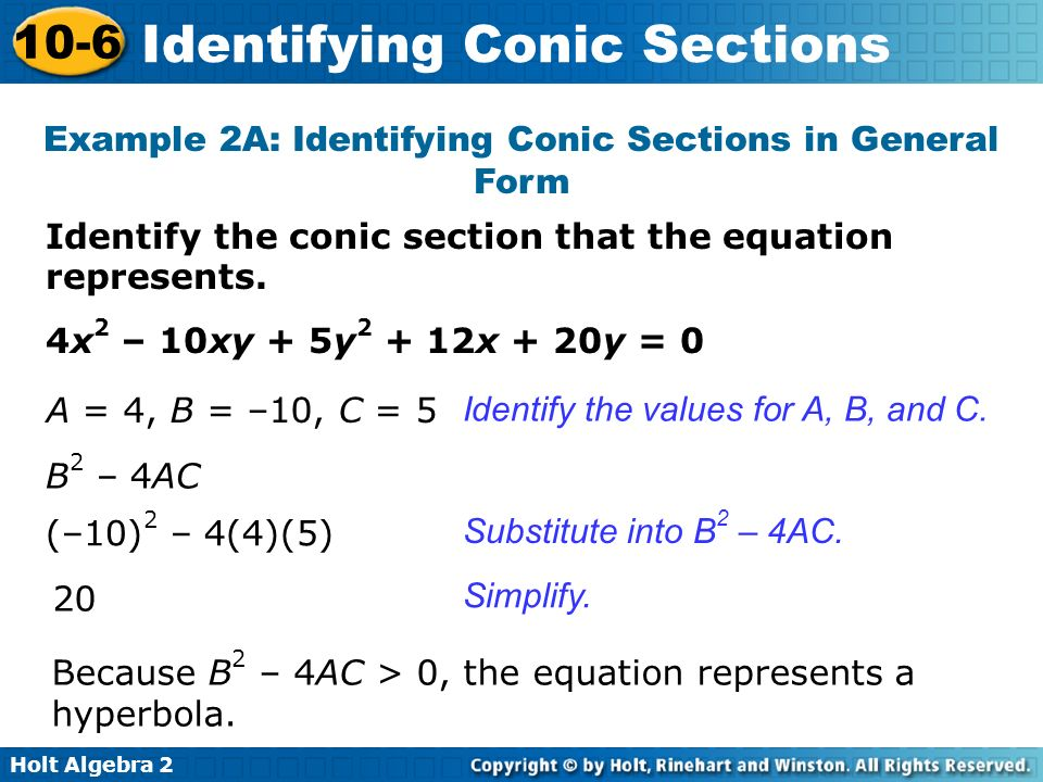 Example 2A: Identifying Conic Sections in General Form