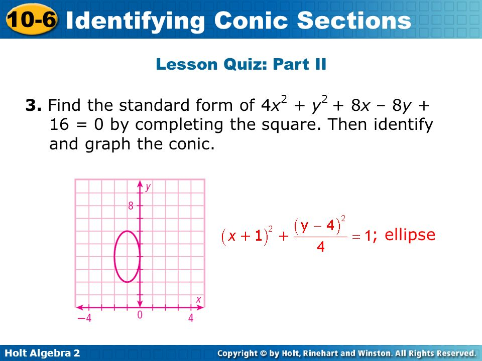 Lesson Quiz: Part II 3. Find the standard form of 4x2 + y2 + 8x – 8y + 16 = 0 by completing the square. Then identify and graph the conic.