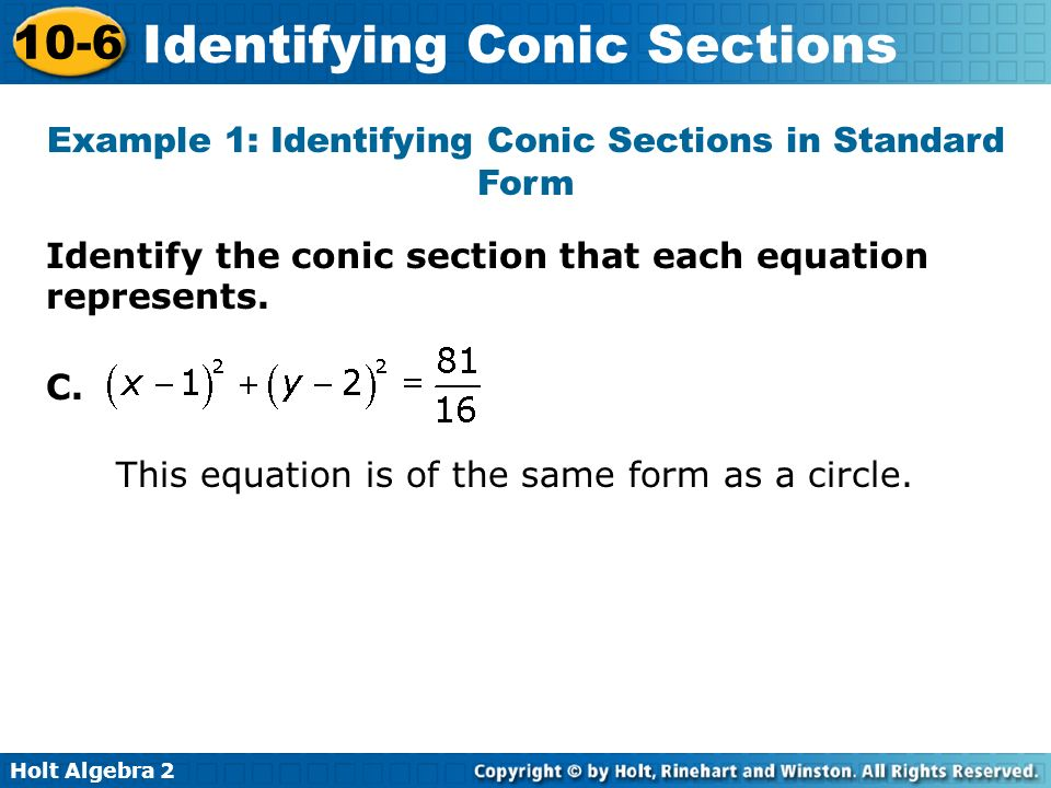 Example 1: Identifying Conic Sections in Standard Form