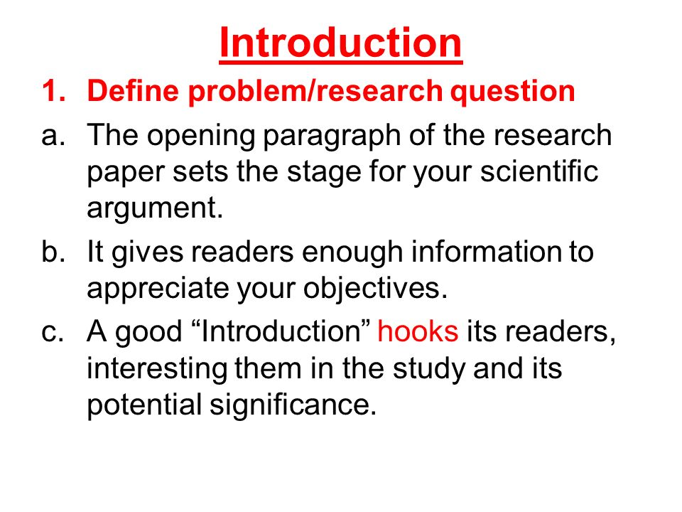 research paper introduction definition
