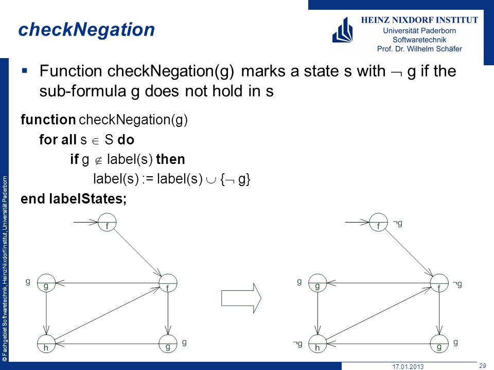 checkNegation Function checkNegation(g) marks a state s with  g if the sub-formula g does not hold in s.