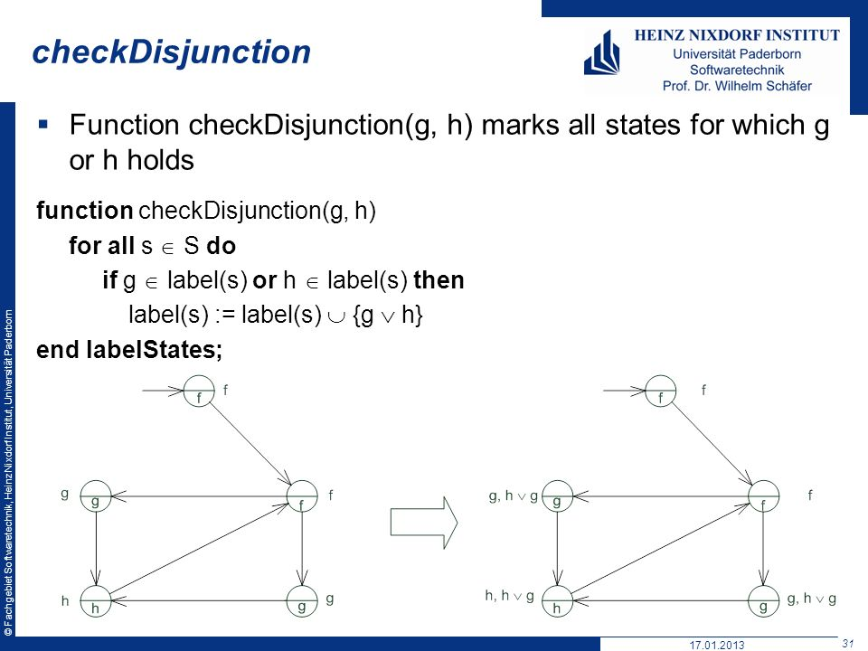 checkDisjunction Function checkDisjunction(g, h) marks all states for which g or h holds. function checkDisjunction(g, h)