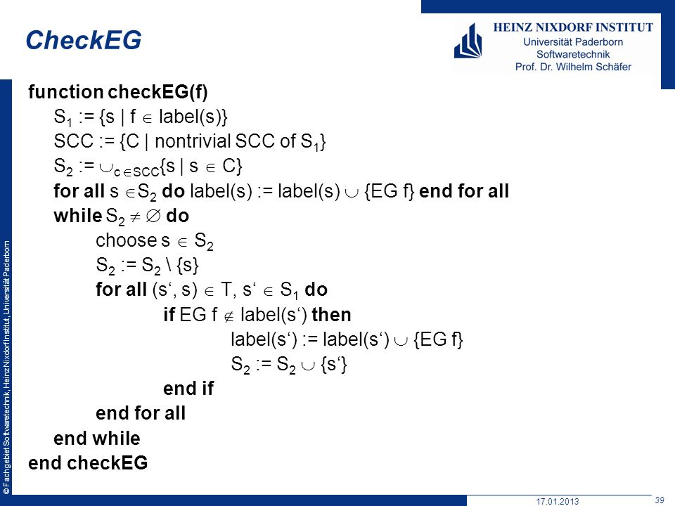 CheckEG function checkEG(f) S1 := {s | f  label(s)}