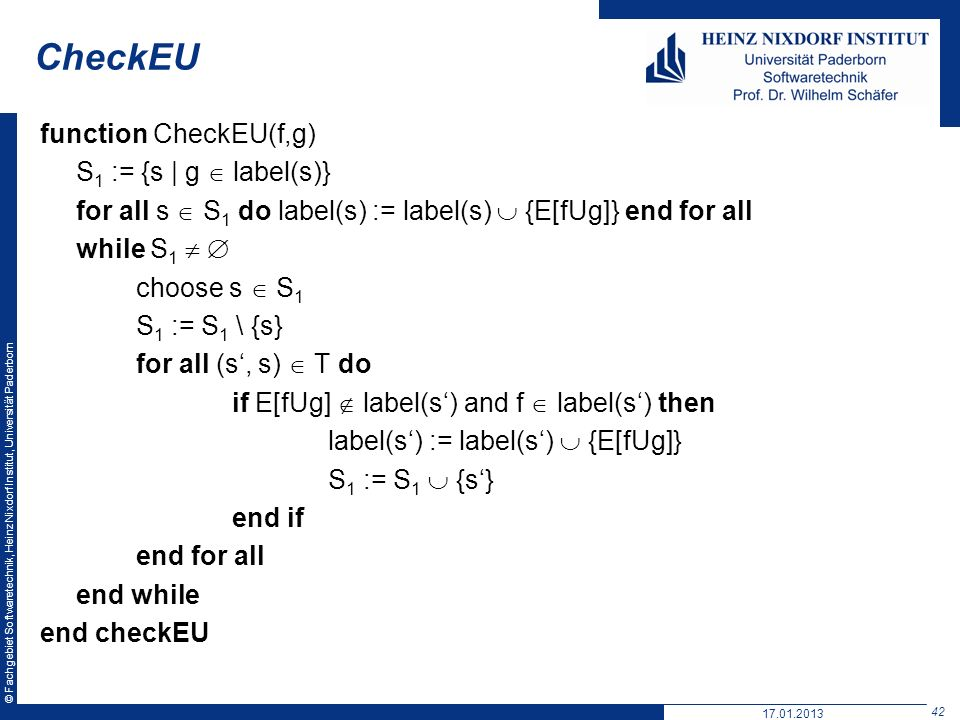 CheckEU function CheckEU(f,g) S1 := {s | g  label(s)}