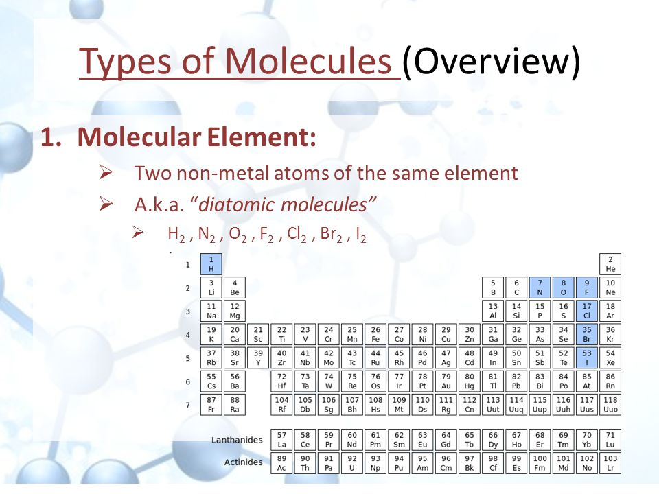 Types of Molecules (Overview)