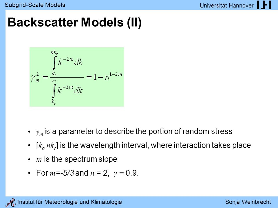 Backscatter Models (II)