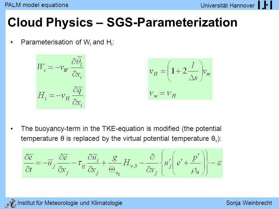 Cloud Physics – SGS-Parameterization