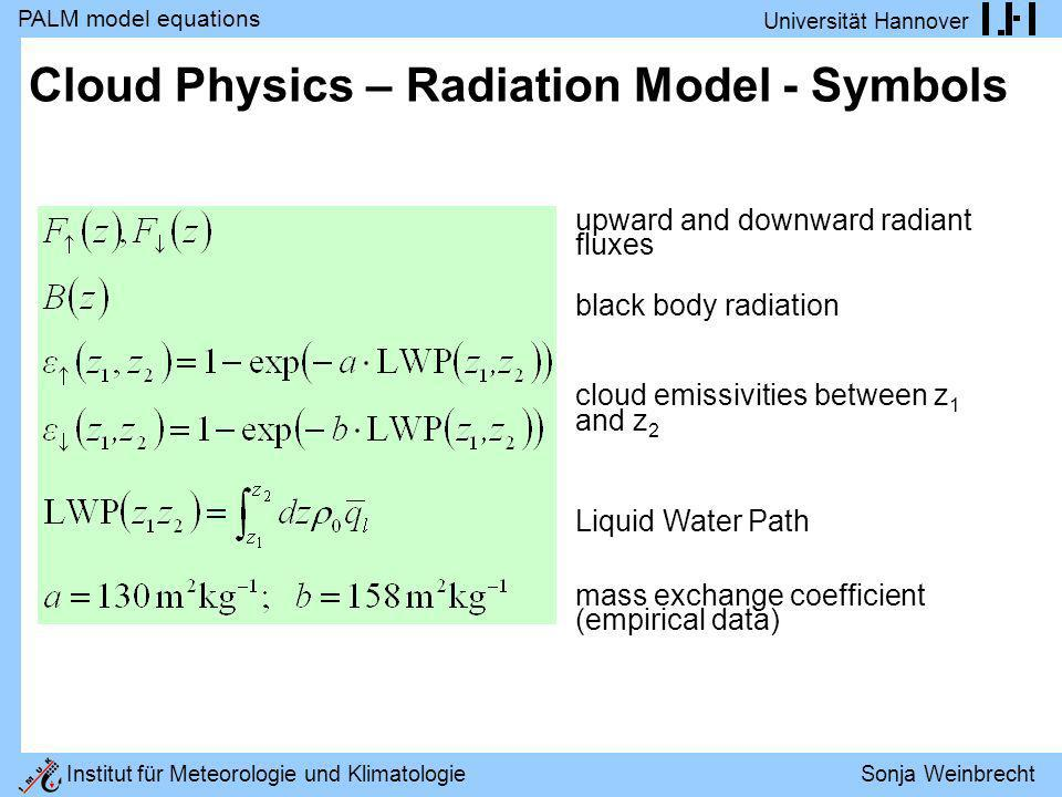 Cloud Physics – Radiation Model - Symbols