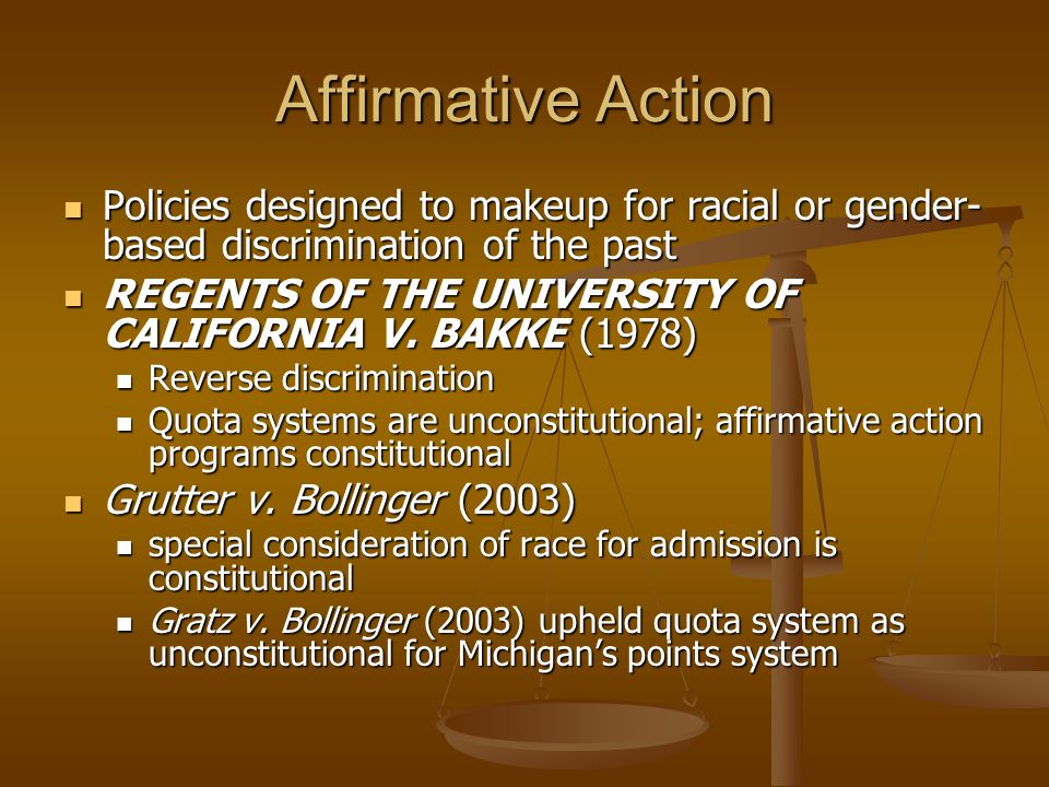 affirmative action racial discrimination Affirmative action refers to policies that try to correct past discrimination in hiring, university admissions, and other candidate selection the necessity of.