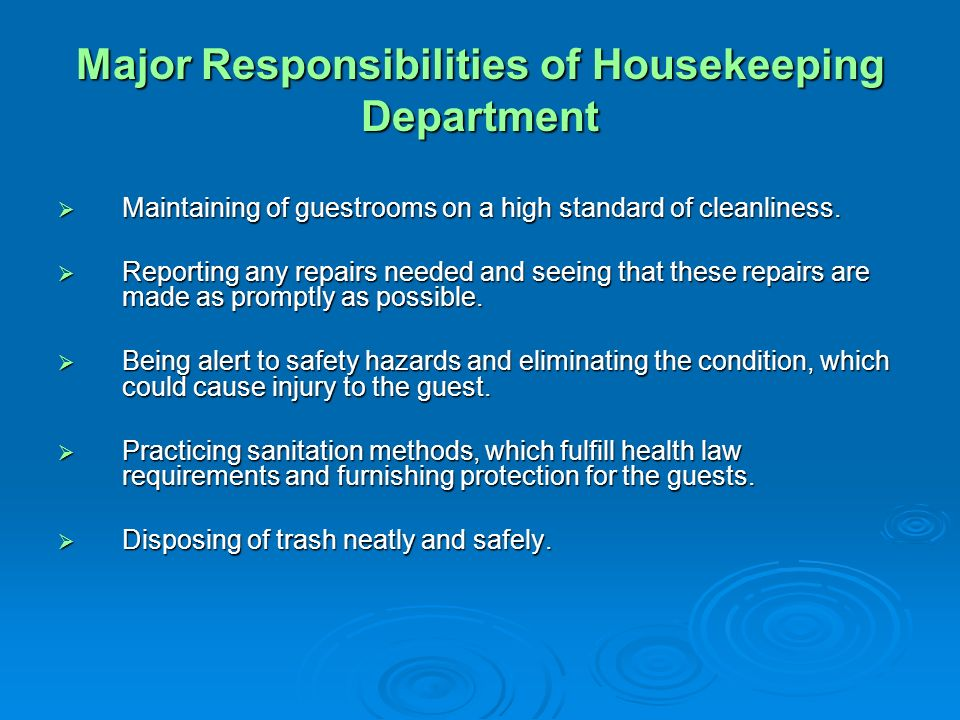 major responsibilities of housekeeping department. Resume Example. Resume CV Cover Letter