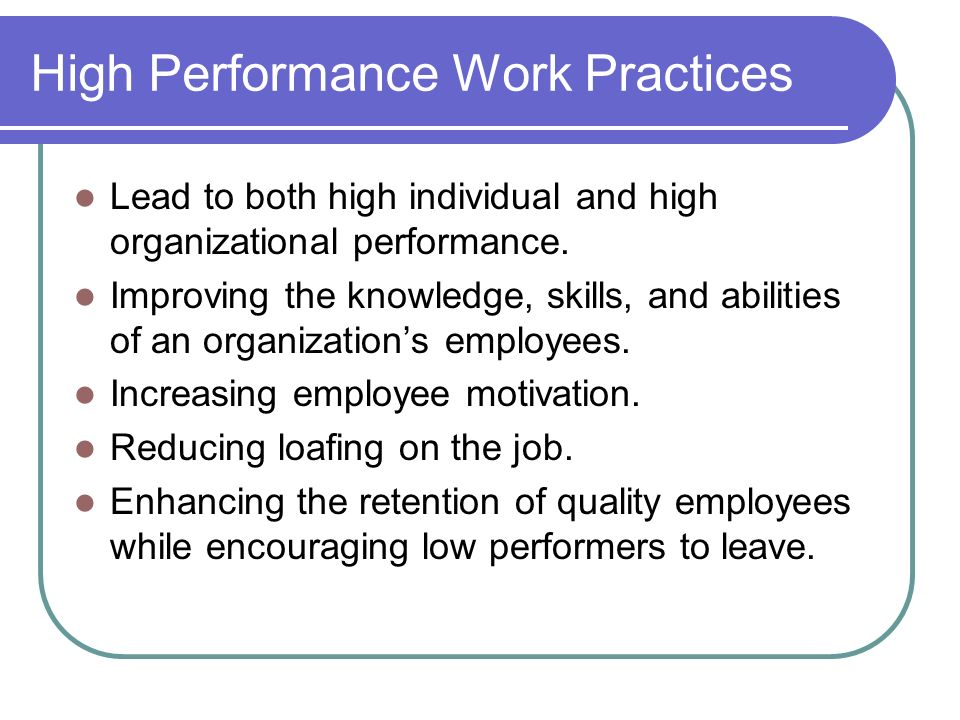 questionnaire for employee perspective on high performance work practices implementation The impact of total quality management practices on employee empowerment between high-involvement work practices and employee high performance.
