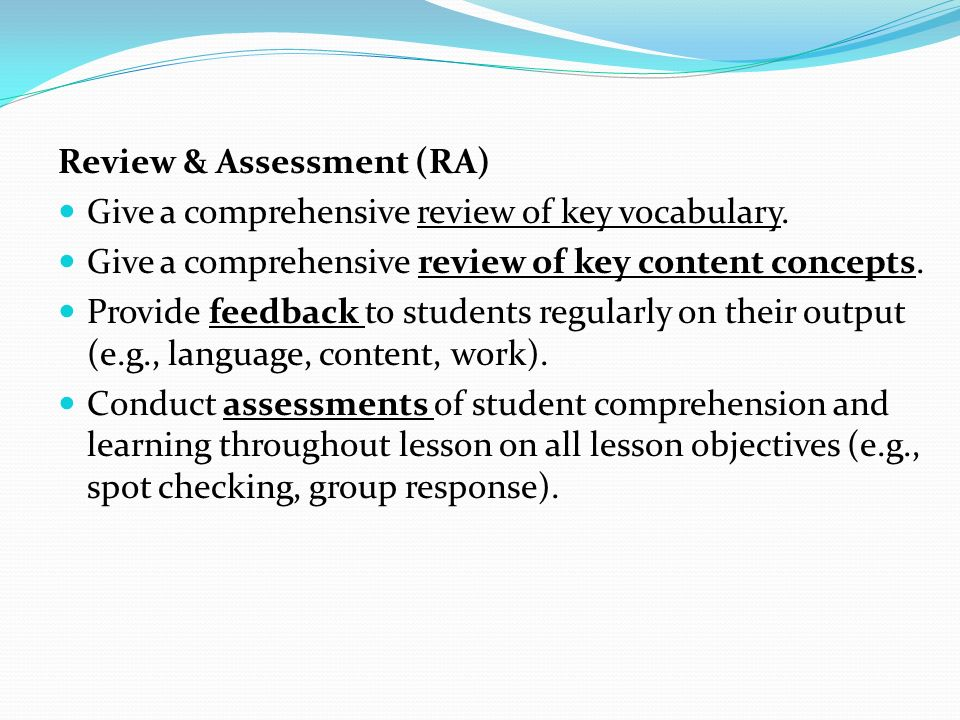 Review & Assessment (RA)