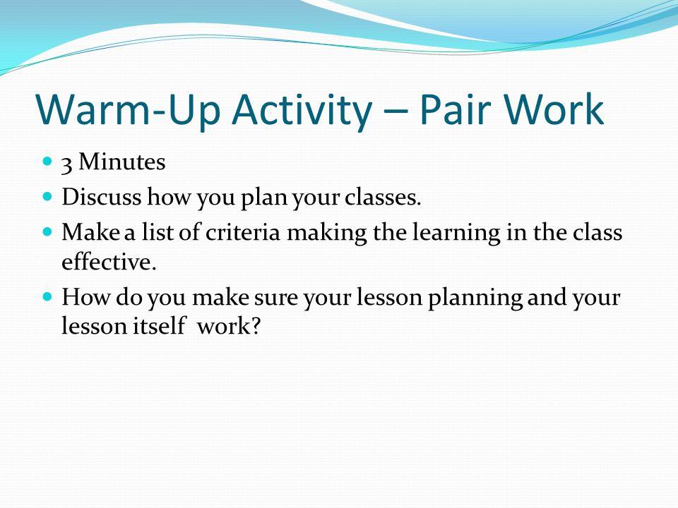 Warm-Up Activity – Pair Work