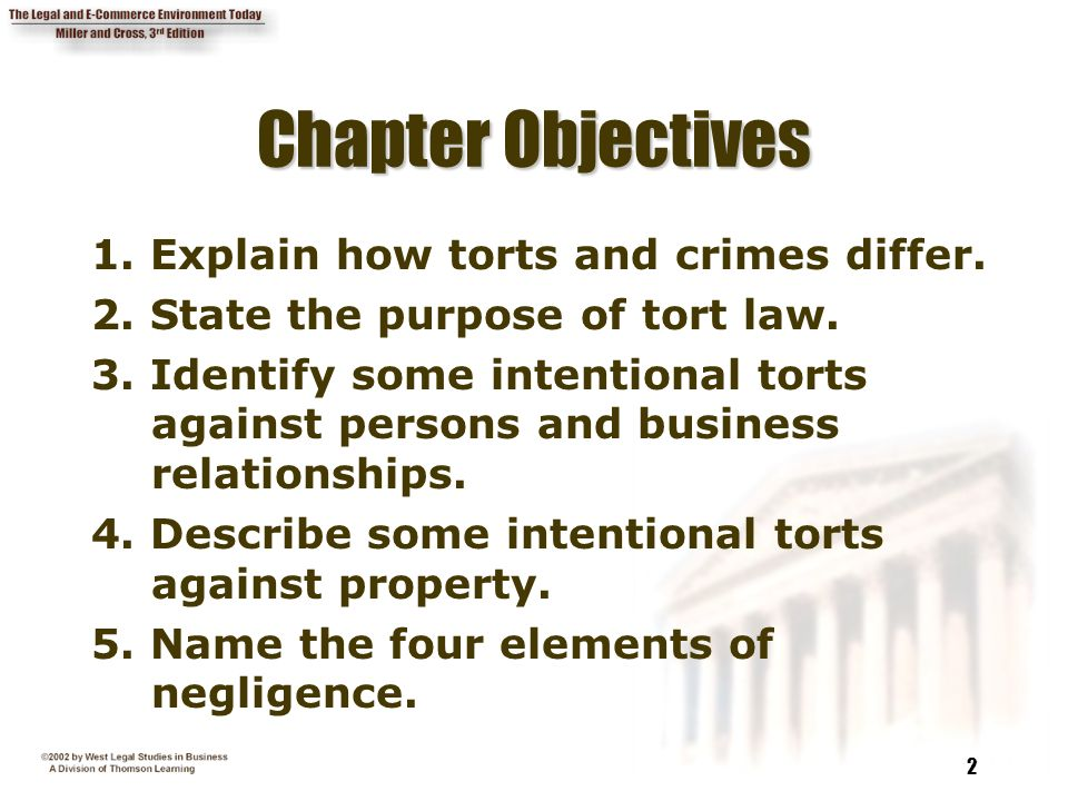 describe the four 4 objectives of tort law Describe the four 4 objectives of tort law principles contents introduction 13 21 22 23 structure of the tort 13 organisation of the chapters 14 policy questions.
