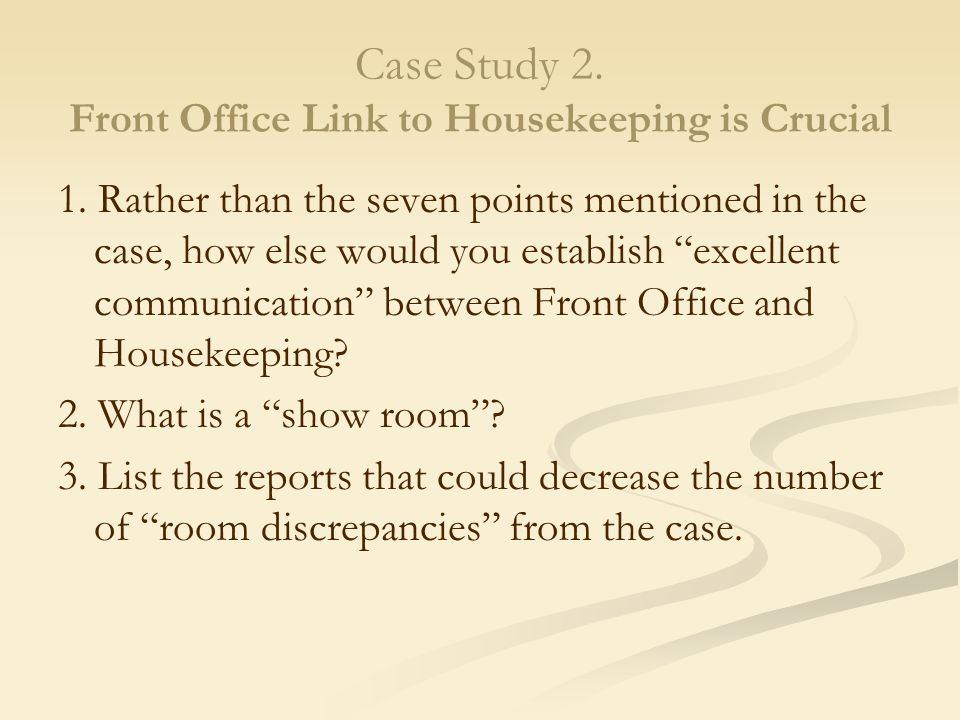 case analysis front office Example case study   instead of writing your findings you might be asked to give a short presentation of your case in front of the selectors.