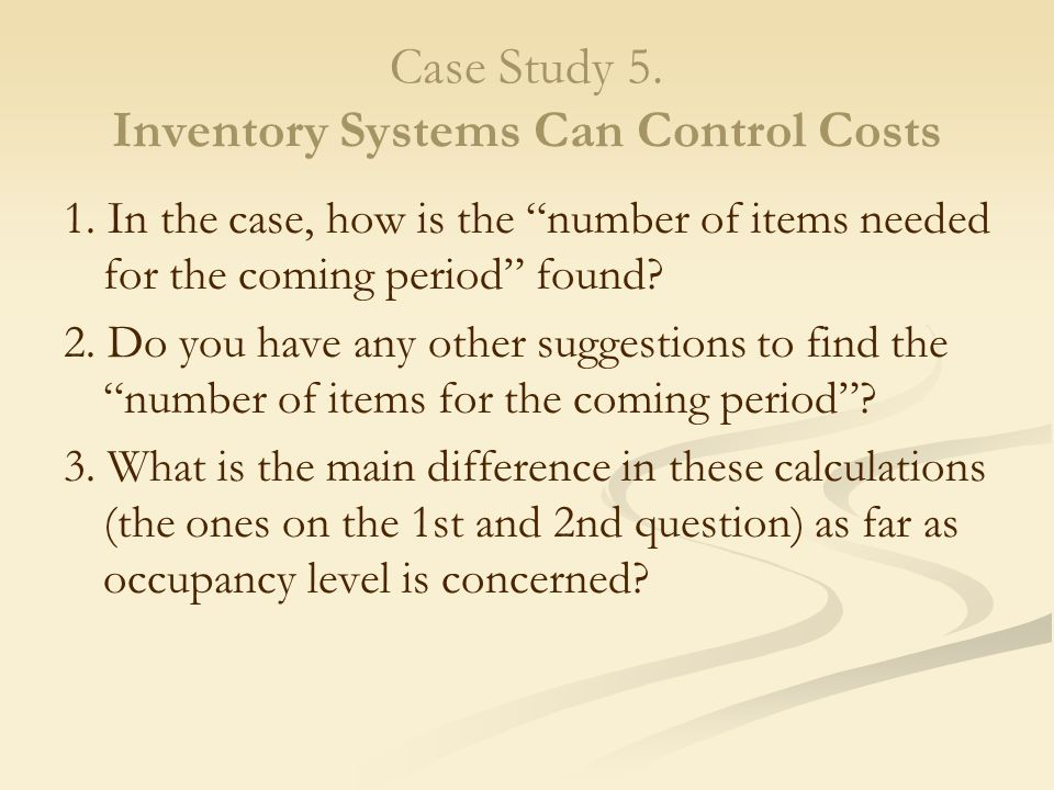 case study on inventory control incorporation of appropriate inventory management system plays an important role in determining the financial health of a manufacturing company in most of the cases, unjustified inventory of .