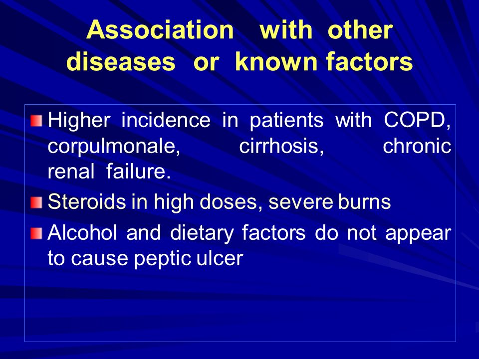 Association with other diseases or known factors