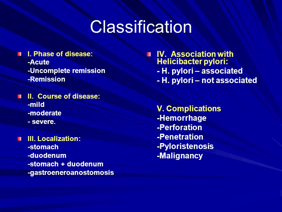 Classification IV. Association with Helicibacter pylori: