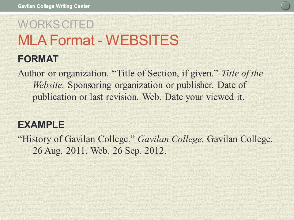 mla formatting site Offers examples for the general format of mla research papers, in-text citations,   for an individual page on a web site, list the author or alias if known, followed.
