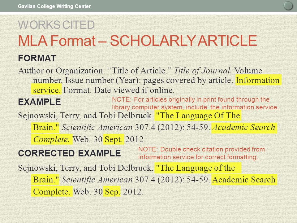 in mla citation how to include a wesite name