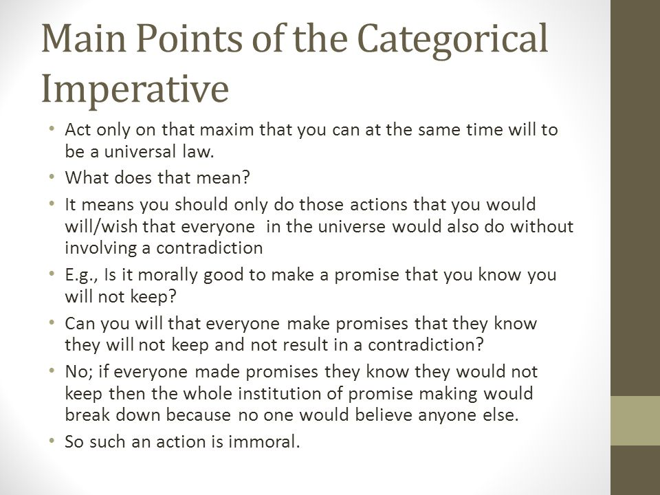 """an analysis of the universal law formation of the categorical imperative outlined by kantian philoso Running through much of rahner'swork is a concern with the relation of the historical to the universal,  categorical """" and the  imperative ofthe moral law."""