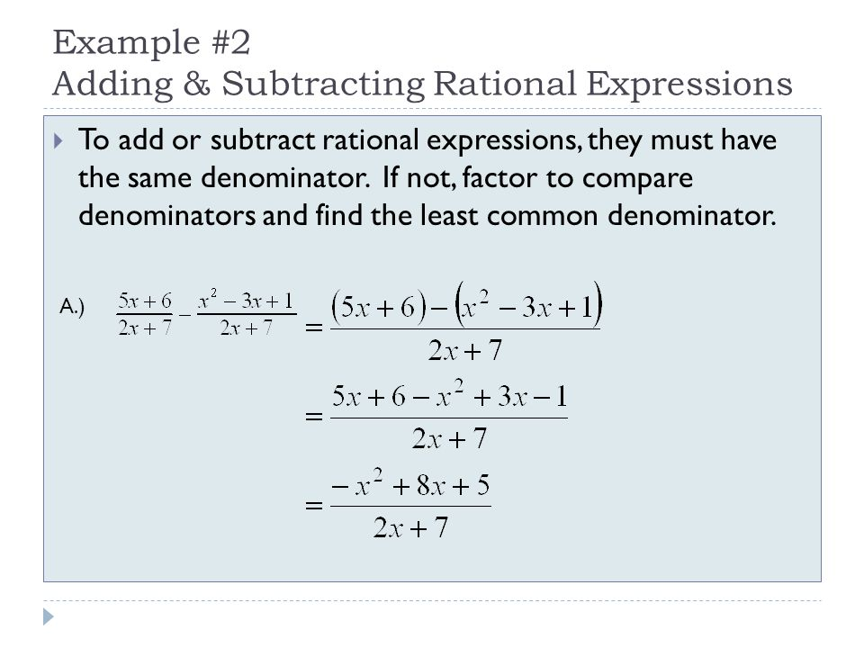 Adding, Subtracting, Multiplying, & Dividing Rational Expressions ...