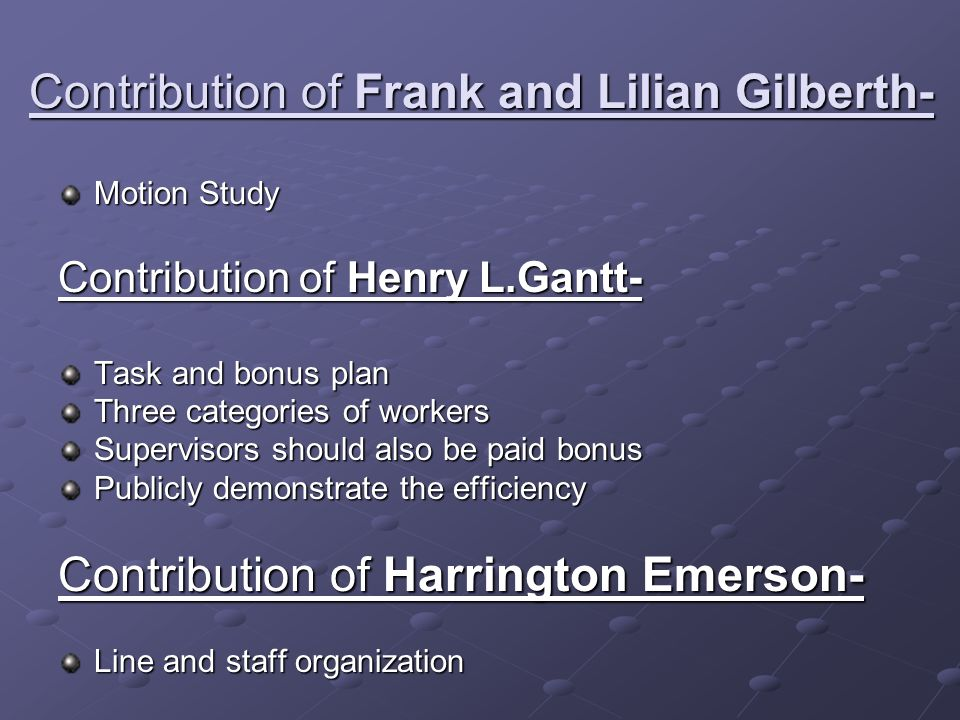 Contribution of Frank and Lilian Gilberth-