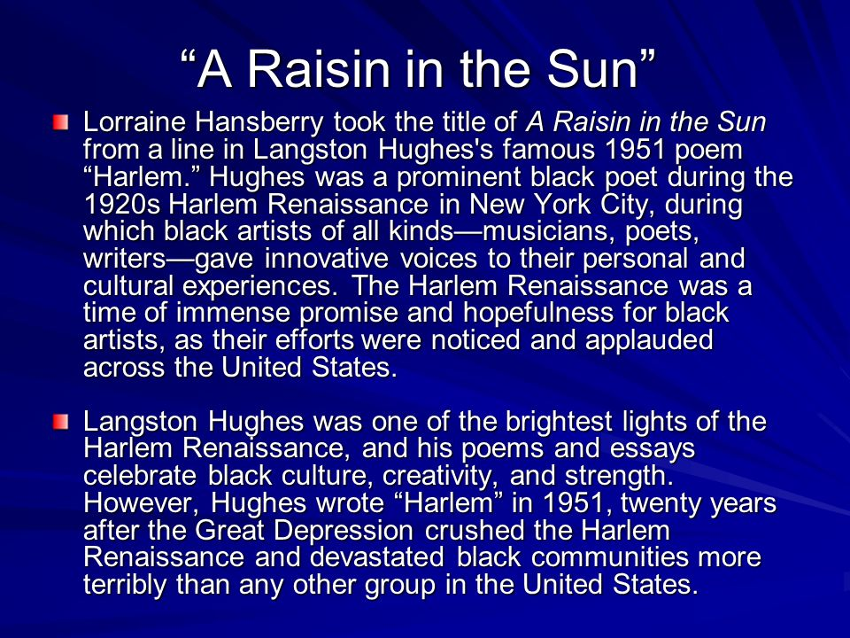 raisin in the sun essay introduction Essays and criticism on lorraine hansberry's a raisin in the sun - critical essays.