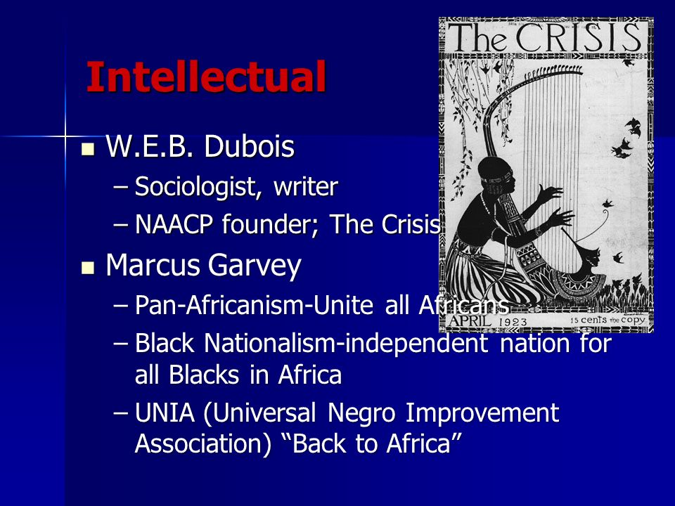 Intellectual W.E.B. Dubois Marcus Garvey Sociologist, writer