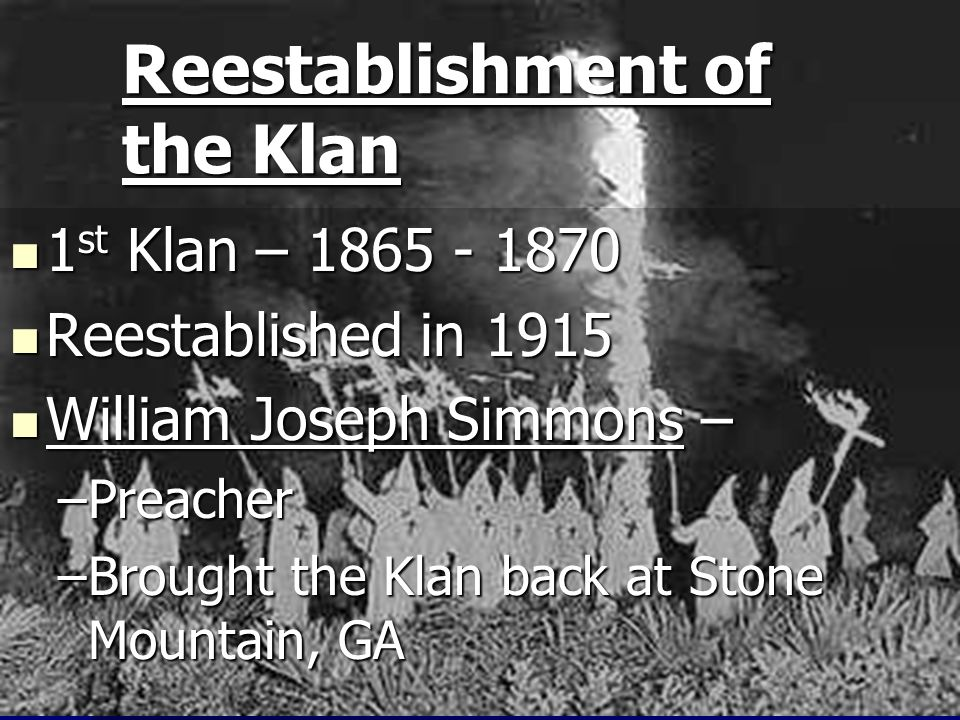 Reestablishment of the Klan