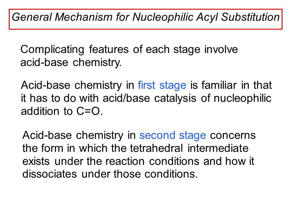 nucleophilic acyl substitution the synthesis of Acyl group substitution this is probably the single most important reaction of carboxylic acid derivatives the overall transformation is defined by the following equation, and may be classified either as nucleophilic substitution at an acyl group or as acylation of a nucleophile.