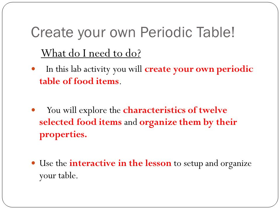 407 periodic table lab activity ppt video online download create your own periodic table urtaz Images