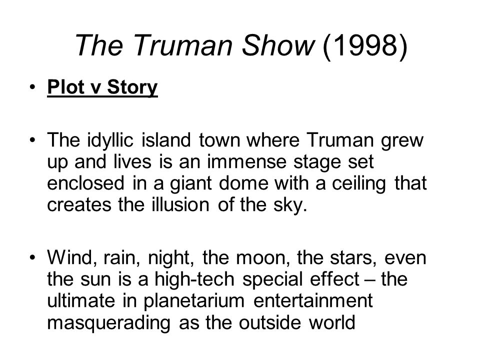 technical codes in the truman show Truman show, the script at the internet movie script database.