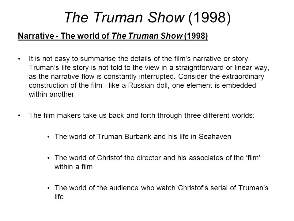 truman show psychology essay The information and comunication in the truman show essays: over 180,000 the information and comunication in the truman show essays psychology essay paper.