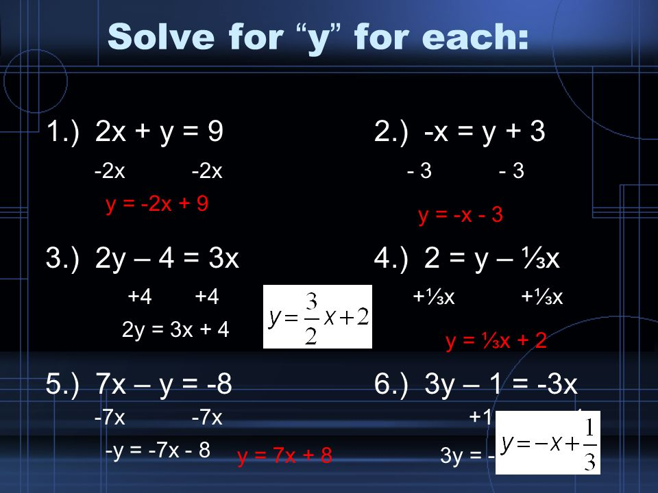 solve for y for each 1 2x y 9 2 x y 2y 4 3x 4 2 y x 5 7x y 8 6. Black Bedroom Furniture Sets. Home Design Ideas