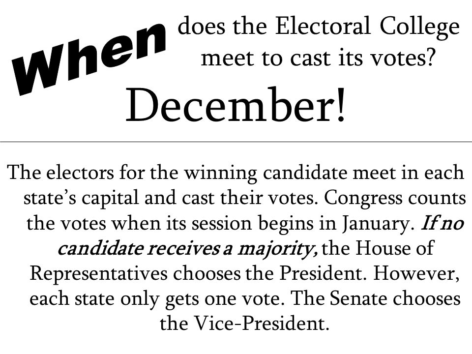 does the Electoral College meet to cast its votes