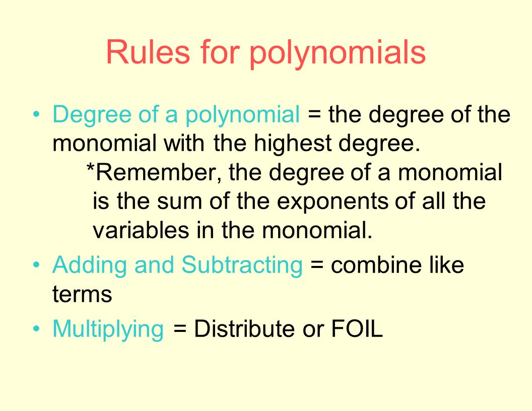 worksheet Degree Of A Monomial polynomial functions and inequalities ppt download 10 rules for polynomials degree