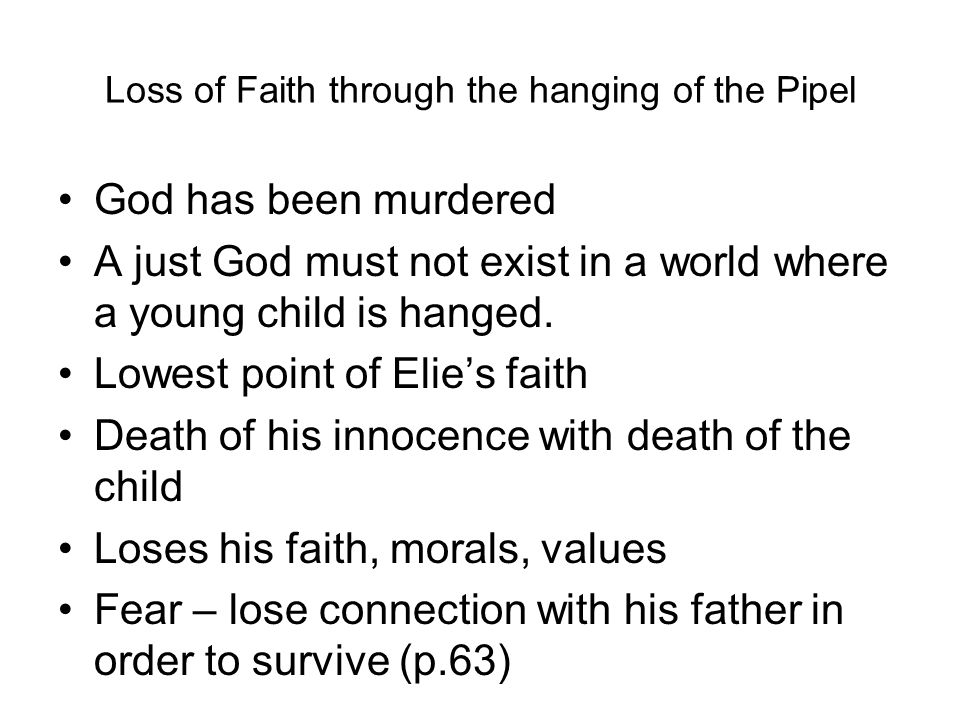 night loss of faith Category: essays research papers title: loss of faith in night by elie wiesel.