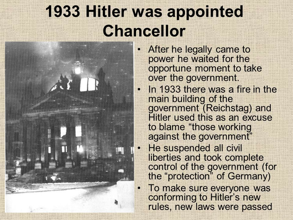 why was hitler appointed chancellor in Hitler was appointed chancellor of germany by president hindenburg on 30 january 1933 following the first world war, germany suffered from a huge economic depression during the 20s hitler was an.