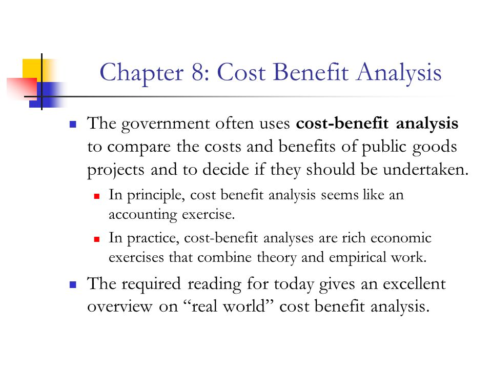 undertake a cost benefit analysis for your