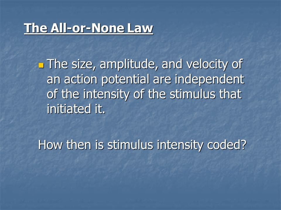 How then is stimulus intensity coded