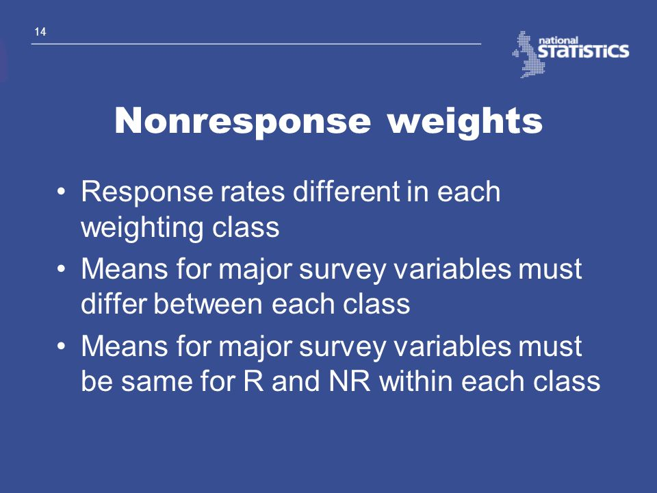 Nonresponse weights Response rates different in each weighting class