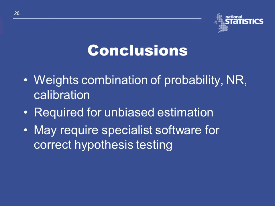 Conclusions Weights combination of probability, NR, calibration
