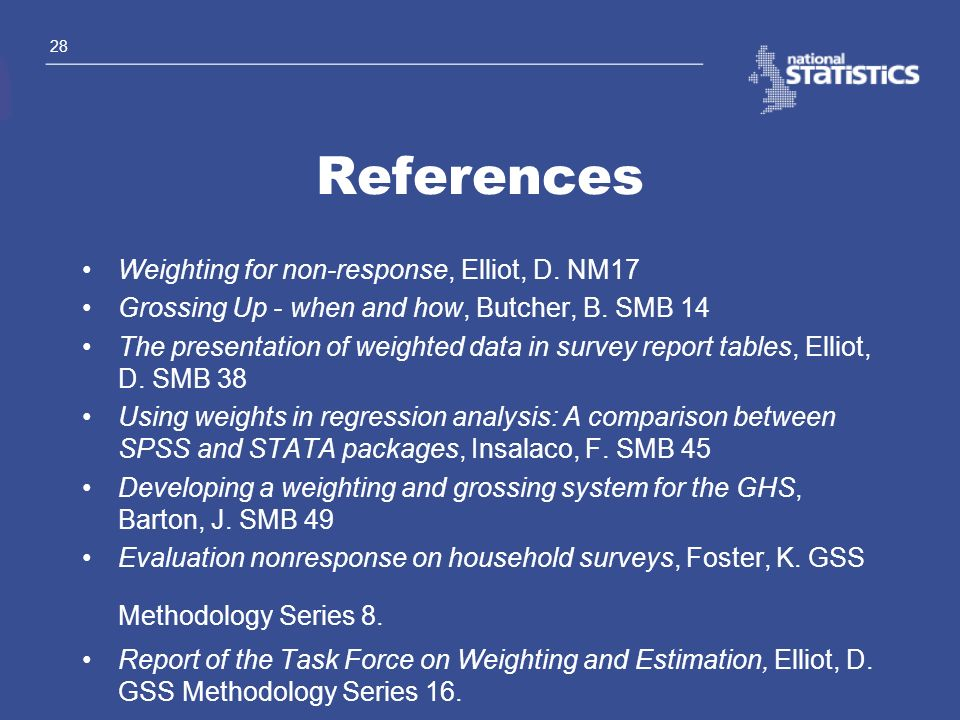 References Weighting for non-response, Elliot, D. NM17