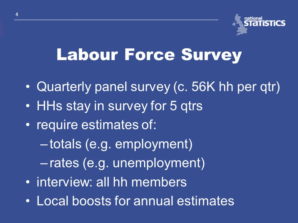 Labour Force Survey Quarterly panel survey (c. 56K hh per qtr)
