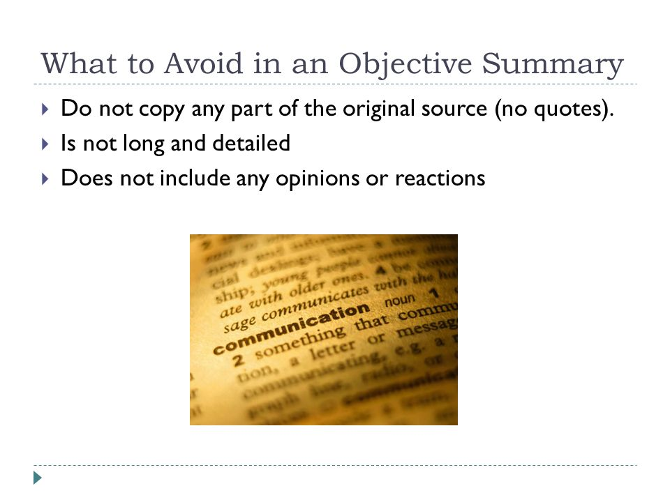 What To Avoid In An Objective Summary  What Is An Objective Summary